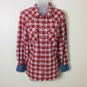 Levi's Western Shirt Pearl Snap Plaid Flip Cuffs
